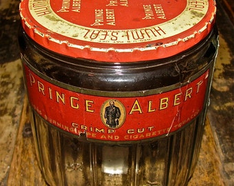 Vintage Prince Albert Tobacco Glass Jar with Original Label / Cigarette, Cigar,Tobacco, Humidor