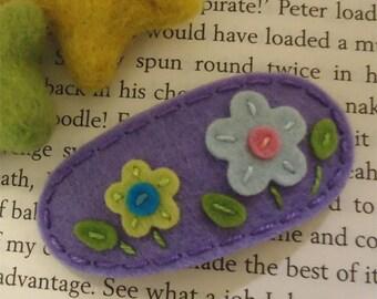 Felt hair clip -No slip -Wool felt -Flowers on the hill -lavender