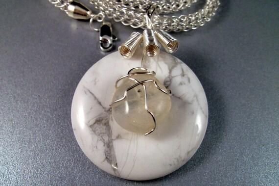 Rainbow Moonstone Pendant on Viking Knit Necklace OOAK