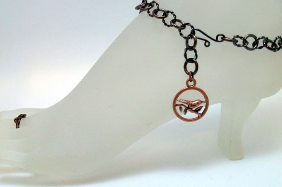 Antiqued Copper Ankle Bracelet with Bird Charm 10.75 Inches Long Solid Copper Handmade Ankle Bracelet Previously Twenty Dollars ON SALE
