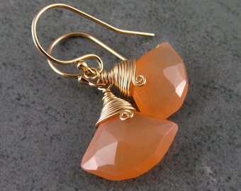 Peach moonstone earrings in 14k gold fill, OOAK fan earrings
