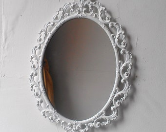 White Oval Mirror in Vintage Metal 13 by 9 Inch Frame, Boho Chic Wall Decor, Home Decorating