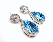 wedding bridal jewely earrings bridal christmas bridesmaid prom party Clear white teardrop cubic zirconia aqua blue crystal on oval cz post