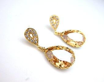 wedding jewelry bridal jewelry wedding earrings party Swarovski golden shadow teardrop foiled pendant with gold teardrop post earrings.