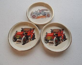 vintage, set of 3, 60s antique car collector decorative ceramic coasters