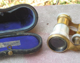 I can see You Great Victorian Opera Glasses Mother Of Pearl N Leather Case