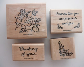 RUBBER STAMPS Used Stampin' Up 4 stamps- friend, love, roses