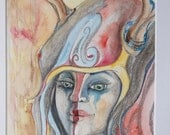 Huntress Original Watercolor and graphite Illustration 8x10 matted to 14x16