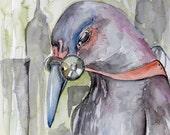 Urban Decay pigeon. Original 8x10 inch watercolor Gas mask bird