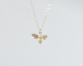 Little gold bee necklace with gold filled chain, delicate modern jewelry