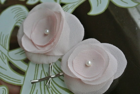 Sarah-Light Peachy Pink Chiffon Flower with pearl centers set of bobby pins