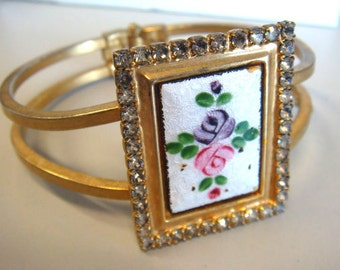 Guilloche rose diamond bangle, diamonte, hand painted, cuff, bracelet