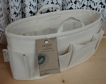 Purse ORGANIZER insert SHAPER with handles / Solid Natural / STURDY / 5 sizes available / Check out my shop for more colors & styles