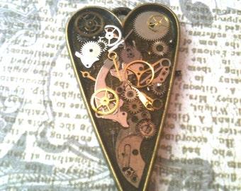Antiqued Brass Clockwork Clutter Heart Necklace