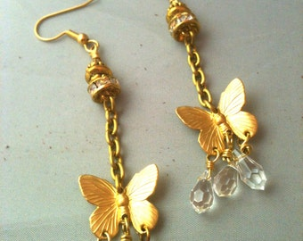 Brass Butterfly and Beautiful Swarovski Crystal Earrings