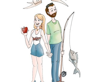 2 Person-Custom Portrait, CUSTOM ILLUSTRATED, Personalized Gift, COUPLE, Drawing, Valentines Day