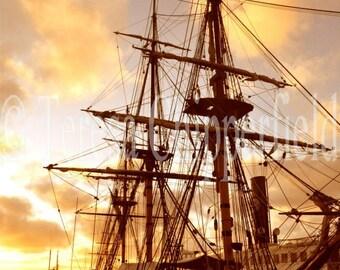 Pirate Ship, Sail Boat Photography, 8x10,11x14,20x30, Photo Print Vintage Ocean going Ship Historic Travel Nautical Steamer Submarine Sunset