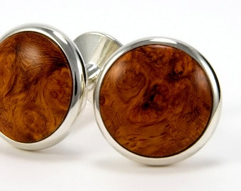 Wooden Cuff Links - Amboyna Burl Silver Cufflinks - Perfect gift Idea for 5th Anniversary, Wedding Party, Groomsmen, Fathers Day, Graduation