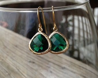 Golden Teardrop Dangle Earrings in Emerald Green - gift, Christmas, May birthday, mother, wife, daughter, sister, bridesmaid, romantic