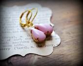 Powder Pink Teardrop Glass Jewel Earrings in Raw Brass & Gold Plate - For The Twinkle-Toed Ones You Love