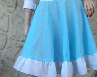Ready to Ship....   Baby Blue Cotton Circle Skirt with Ruffle - Just One - Size Medium - Sheer Skirt - Beach Skirt