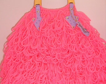 Crochet Handbag-Neon Pink