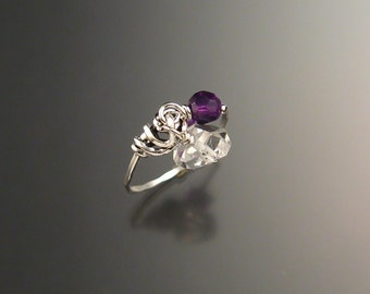 Quartz Crystal and Amethyst Birthstone Sterling Silver Natural Stone Charm Ring