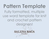 Pattern Template Document with Cheat Sheet Fully Formatted for Knit kitting and Crochet Pattern Designers Professional Use