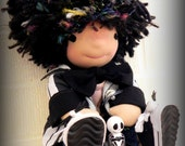 Waldorf Doll Meet Jack who loves Nightmare Before Christmas and Jack Skellington...13 Inches All Natural Sparkly Hair