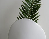 Vintage MCM Mid Century Modernist Minimalist White Ceramic Matte Large Vase Planter Eames Era 1950s 1960s
