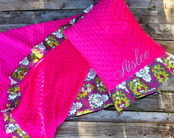Nap Mat cover with attached Ruffle Minky Blanket & Personalized Ruffle Pillow Case