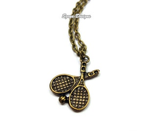 Tennis Racket Necklace - retro necklace cute necklace fun necklace bronze brass chain chic rockabilly necklace sport leisure outdoor game