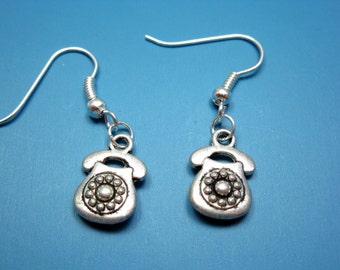 Retro Telephone Earrings - keep connected old school phone earrings nerd jewelry geek funny cute earrings funky earrings quirky earrings