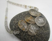Gold Rutilated Quartz microfaceted rondelles and Smooth Polished Briolettes