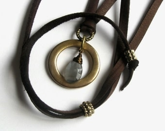 Leather Necklace Pendant with Grey Moonstone