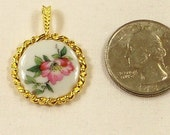 Signed 14k GF Haviland Pendant with Hand Painted Flowers  from France