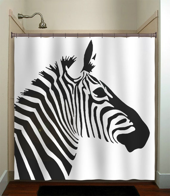 Zebra Bathroom Ideas : zebra shower curtain bathroom decor fabric kids bath white black ...