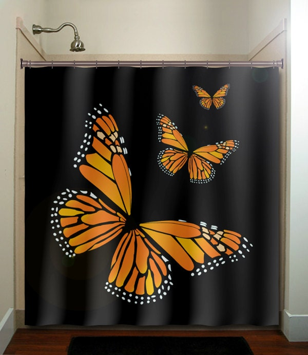 monarch butterfly shower curtain bathroom decor fabric kids