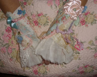 A Sweet Pair of Vintage Style Pastel Cuffs Ruffled and Heavily Beaded from My Savy Girl Line