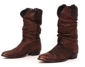 size 10 SOUTHWEST brown leather 80's DINGO METAL toe cap boots