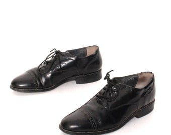 VINTAGE mens size 8.5 OXFORD black leather 80's SPECTATOR lace up dress shoes