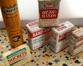 Collection of Vintage Tins   Band aid