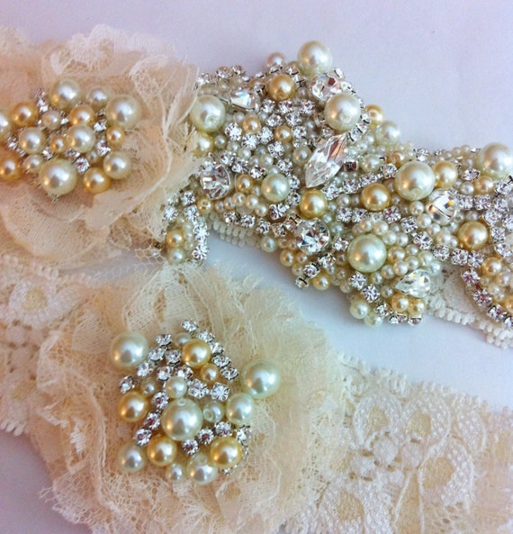 Crystal Wedding Garter: Items Similar To Glamourous Crystal Wedding Garter Set