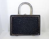 Vintage Handbag 50s Black Purse with bead front - on sale