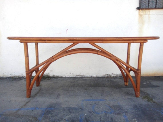 Reserve-Jackie-50's Surfboard Style Bamboo or Rattan Console Table or Desk (Los Angeles)