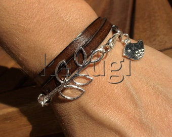 multi wrap dark brown leather bracelet with silver plated leaf connector and bird