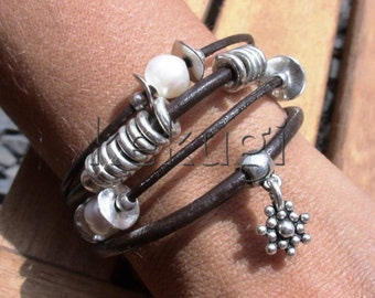 multi strap brown leather bracelet with silver plated  beads and fresh water pearls
