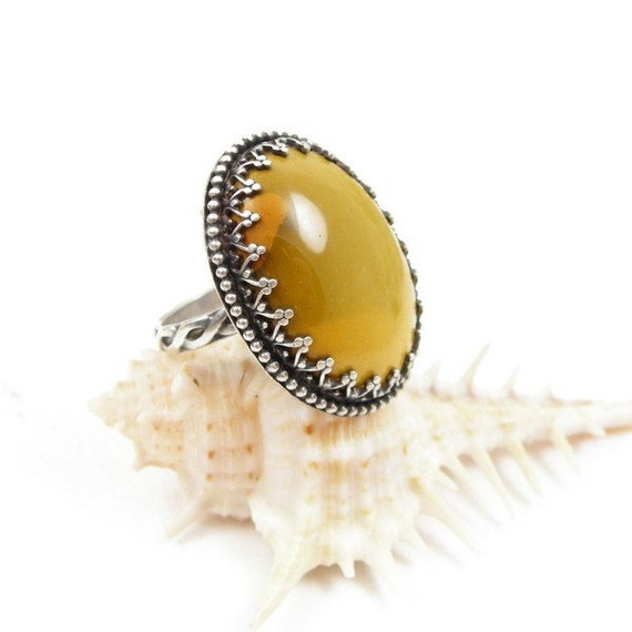 Gemstone ring , silver metalwork ring , mustard ring , sterling jewelry , adjustable ring , vintage style jewelry