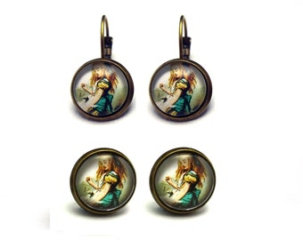 Alice In Wonderland Picture Earrings OR Studs - Handmade Jewellery