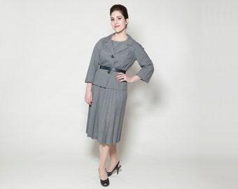 Vintage 1960s I. Magnin Suit - 3 Piece Skirt - Grey Spring Fashions